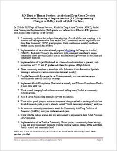 Thumbnail image of the first page of the Minnesota Department of Human Services Alcohol and Drug Abuse Division Prevention Planning and Implementation Programming Changes Report